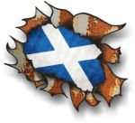 Ripped Torn Metal Rusty Design With Scotland Scottish Saltire Flag External Car Sticker 105x130mm